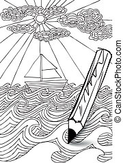 hand drawn styled sea with clouds, sun and sailor boat. Vector illustration