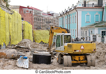 road repairing. Andreevsky descent in Kyiv, Ukraine. - Road...