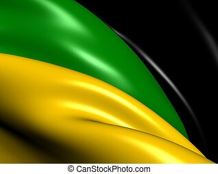 African National Congress Flag. Close Up.