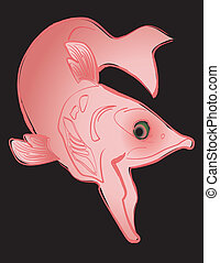 Swimming Salmon - Swimming salmon line drawing illustration,...