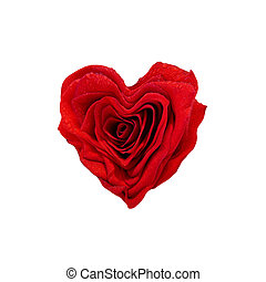 Rose Heart Shape - A red rose with water drops in the shape...