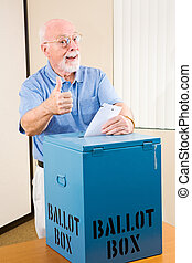 Election - Senior Thumbsup - Senior man giving the thumbs-up...