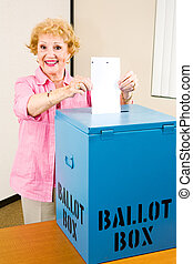 Election - Senior Woman Votes - Senior woman casting her...