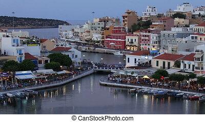 Lake Voulismeni evening scene, Agios Nikolaos, Crete