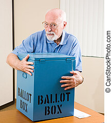 Stealing the Election - Senior man stealing a ballot box...