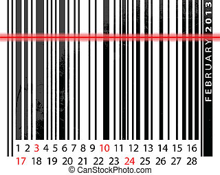 FEBRUARY 2013 Calendar, Barcode Design. vector illustration