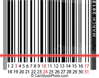 MARCH 2013 Calendar, Barcode Design. vector illustration