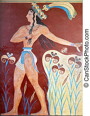 Knossos palace at Crete in Greece - Ancient fresco from...