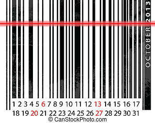 OCTOBER 2013 Calendar, Barcode Design. vector illustration