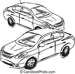 Sketch of cars. Vector illustration