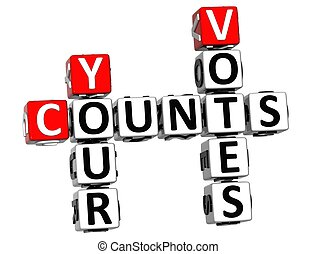 3D Counts Your Votes Crossword on white background