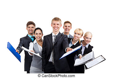 group of business people young businesspeople smile