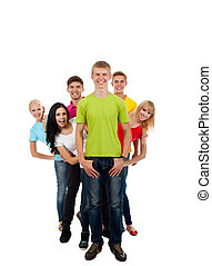 group of young people happy excited smile isolated