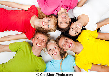 group of young people happy excited smile