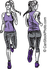 Sketch of female marathon runner, view of back and front....
