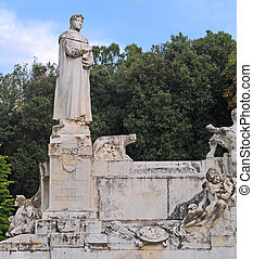 estátua, pai, humanismo, Petrarch, (Francesco,...