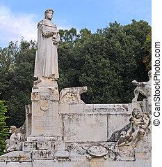 estátua, pai, humanismo, Petrarch, (Francesco, Petrarca),...
