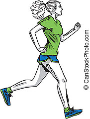 Sketch of female marathon runner. Vector illustration