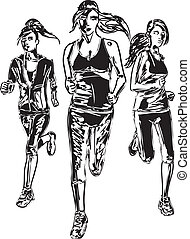 Sketch of women marathon runners Vector illustration
