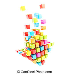Download arrow icon made of colorful glossy cubes isolated...