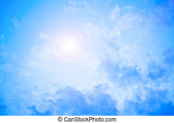 heavenly bright blue sky with sun flare - bright blue sky...