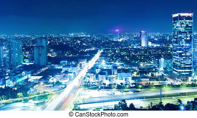 Tel Aviv At Night - Tel Aviv Skyline At Night - Time Lapse