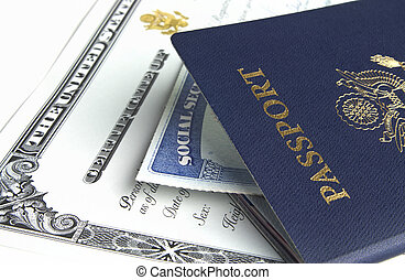 Passport and documents - Blue American passport with...