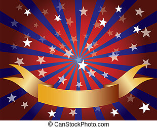 Red White and Blue Stars Sun Rays and Banner - Fourth of...