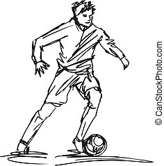 Sketch of Soccer Player Kicking Ball Vector illustration