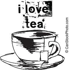 croquis, tasse, thé, thé, sac, vecteur,...