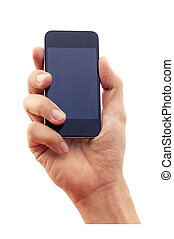 isolated hand holding smartphone or phone. clipping path of...