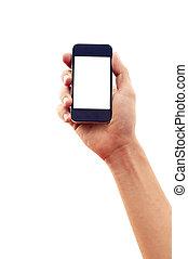 aislado, mano, tenencia, smartphone, o, teléfono