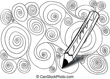 Abstract design drawing made by pencil vector background