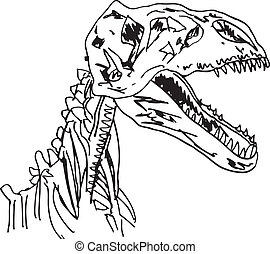 Sketch of Dinosaur fossil Vector illustration