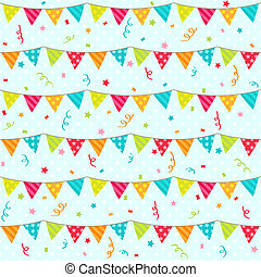 Bunting - Seamless vector pattern with bunting