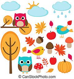 autumn - Autumn set  - tree, leafs, mushrooms and birds