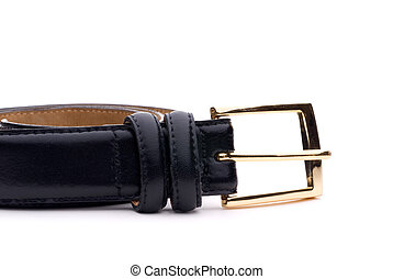 closeup of a black belt with a gold buckle