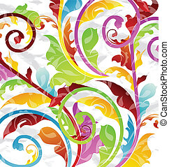 Abstract multicolor floral background, design elements -...