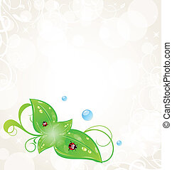 Eco friendly background with green leaves and ladybugs