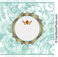 Royal background with golden ornate frame and heraldic crown