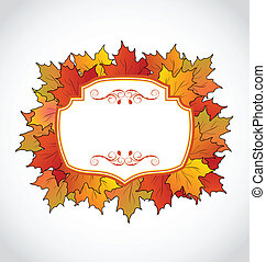 Autumnal floral card with colorful maple leaves -...