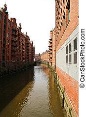 Historic building in the Speicherstadt in Hamburg - Historic...