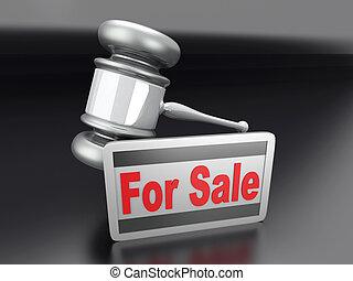 Auction sale symbol 3D rendered illustration