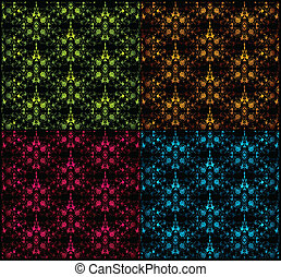 Set seamless damask pattern. Vector illustration