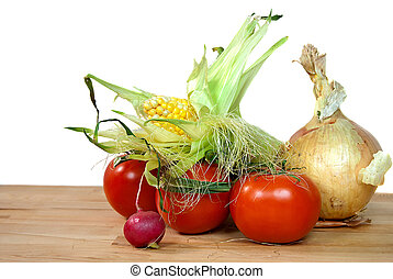fresh vegetables on cutting board - Vegetables on a butcher...
