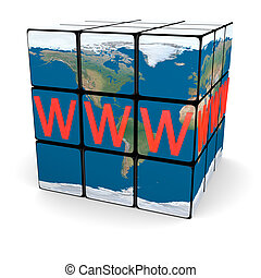 World wide web on Earth cube isolated on white background....