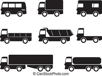 transporte, camión, iconos