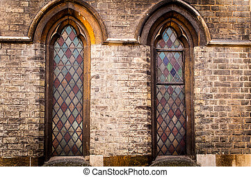 An old church window of Cambridge showing stain glass detail...