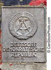 DDR sign in Berlin on Berlin's wall