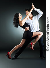 rumba dance - Beautiful couple of professional artists...